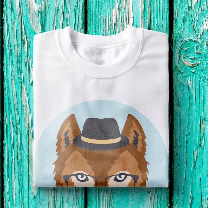 Tricou barbati - Hipster wolf 1