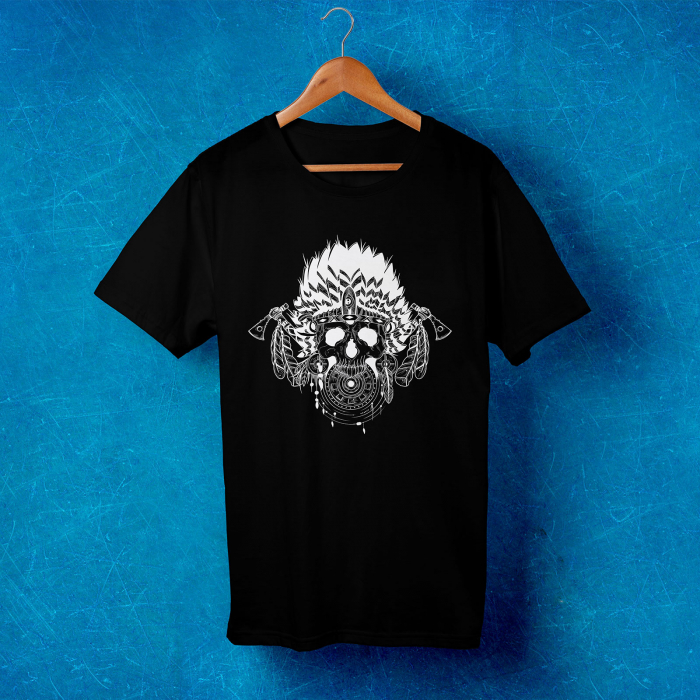 Tricou barbati - Portrait of an indian skull 1