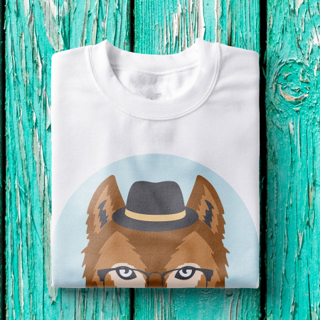 Tricou barbati - Hipster wolf1