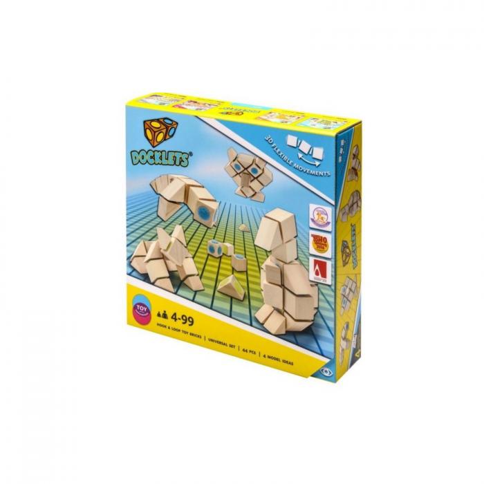 Docklets, cuburi din lemn cu velcro, set universal, 44 piese 0