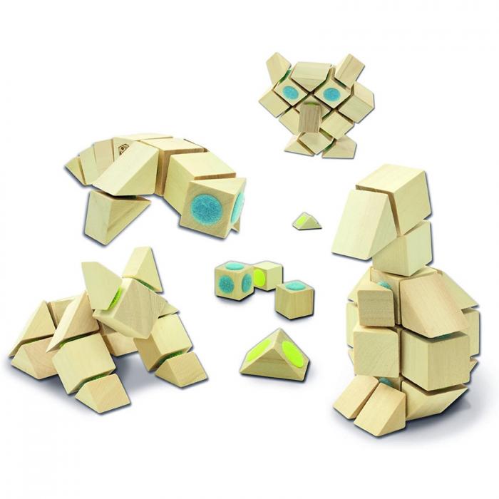 Docklets, cuburi din lemn cu velcro, set universal, 44 piese 2