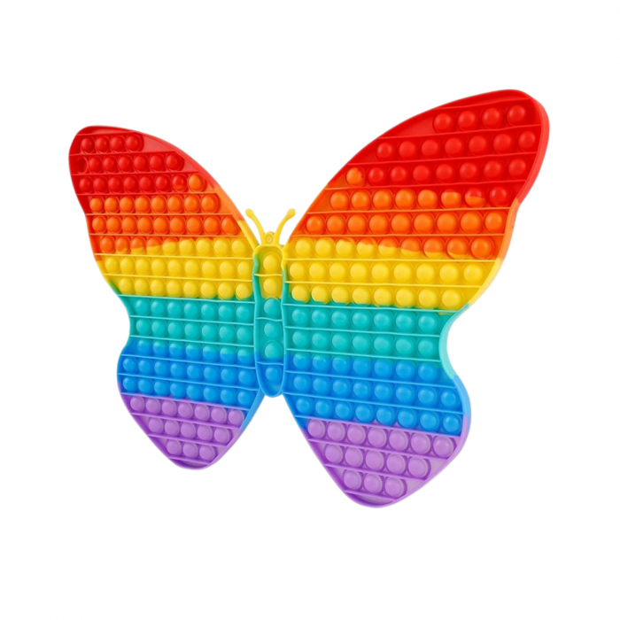 Jucarie senzoriala Pop It, Fluture curcubeu XXL, 43x28 cm [0]