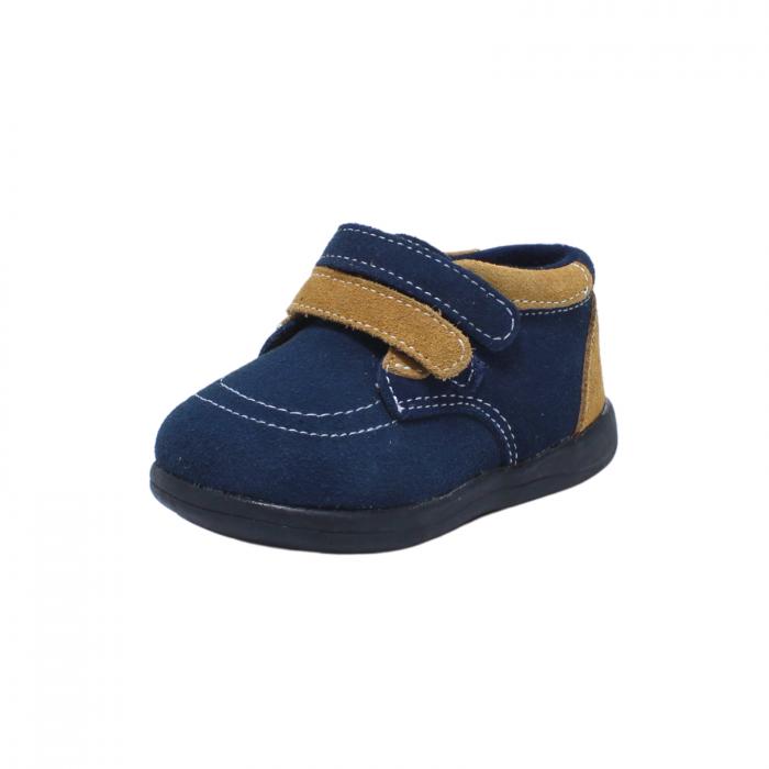 Pantofi din piele intoarsa 19-24 EU, culoare navy, 182144 Happy Bee 0
