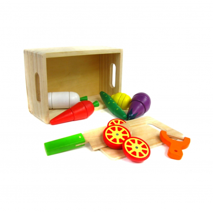 Cutie cu legume de feliat din lemn, 10 piese, Ferry Jouets 0