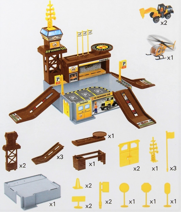 Set de joaca garaj/parcare santier constructii 26 de piese 2
