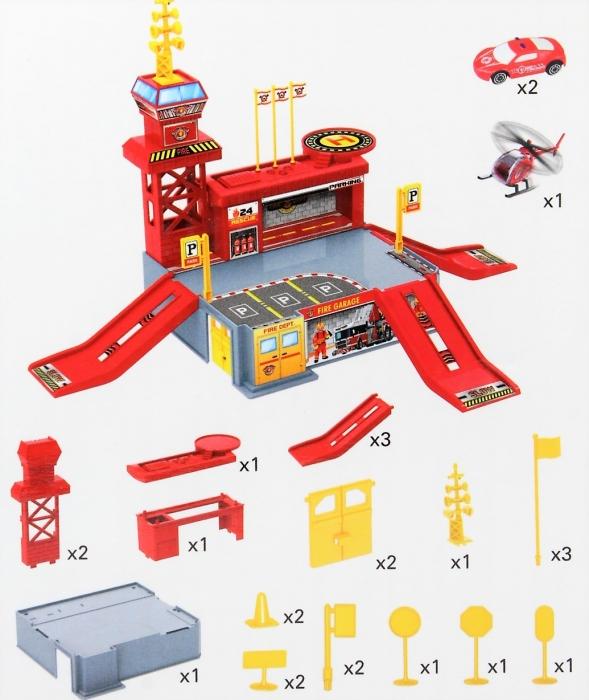 Set de joaca garaj/parcare Pompieri 26 de piese 2