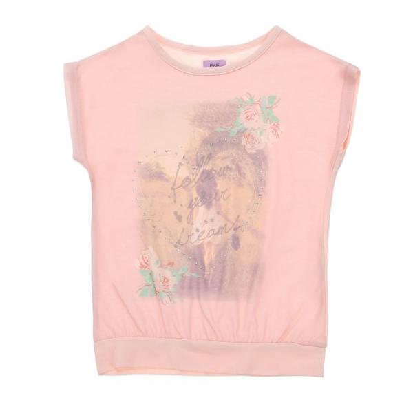 Bluza F&F, roz pal cu imprimeu, 6-13 ani 0