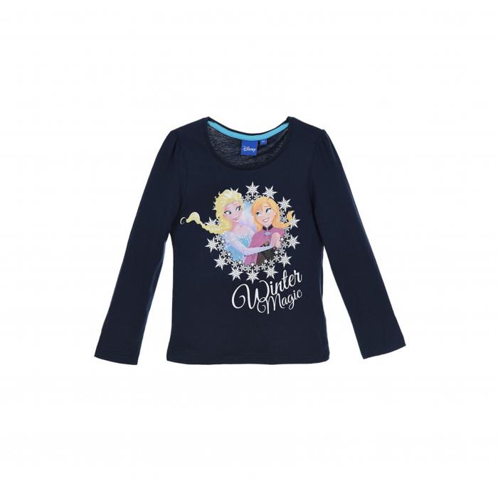 Bluza maneca lunga Frozen Elsa si Anna glitter, E1569 albastru/roz/gri, 4-8 ani 0