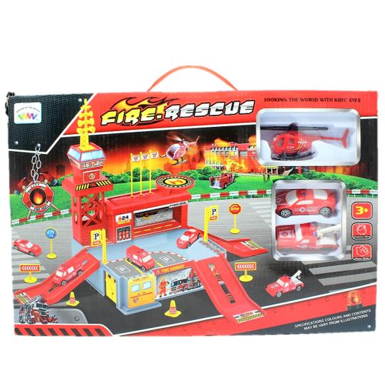 Set de joaca garaj/parcare Pompieri 26 de piese 0