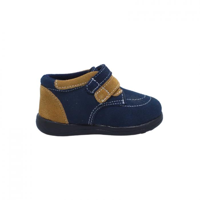 Pantofi din piele intoarsa 19-24 EU, culoare navy, 182144 Happy Bee 3