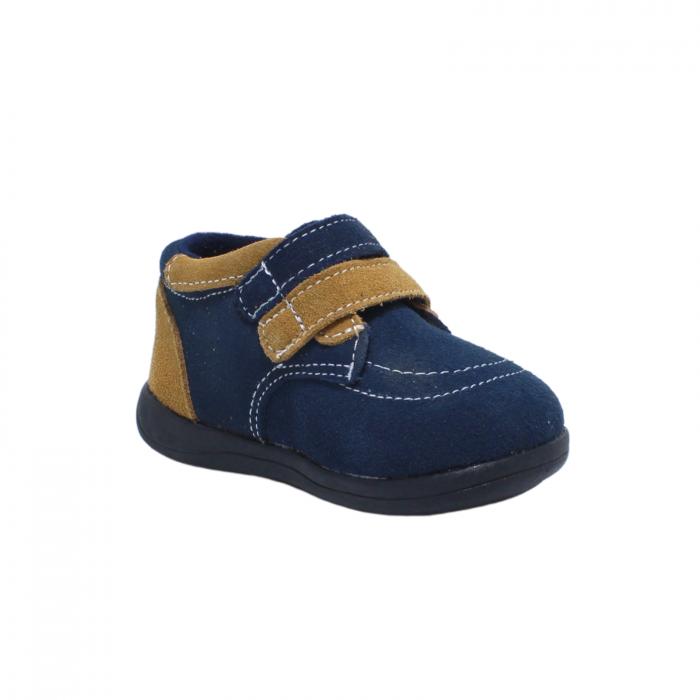 Pantofi din piele intoarsa 19-24 EU, culoare navy, 182144 Happy Bee 2