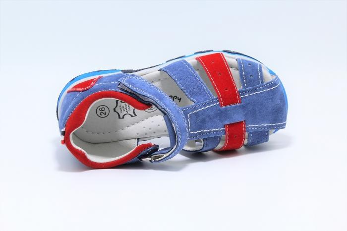 Sandale baieti din piele, HappyBee Denim Blue/Red, marimi 26-31 EU 5