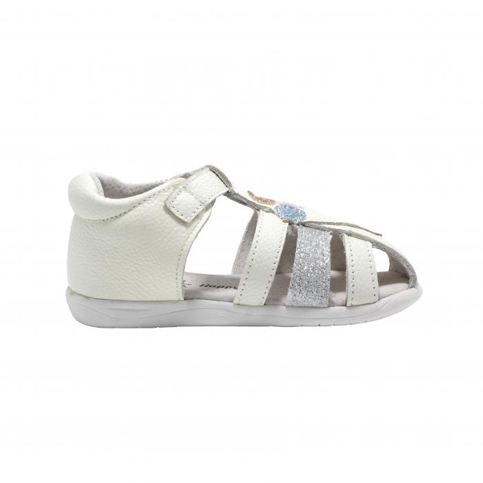 Sandale din piele Happy Bee, model 142864 albe, 19-24 EU 2