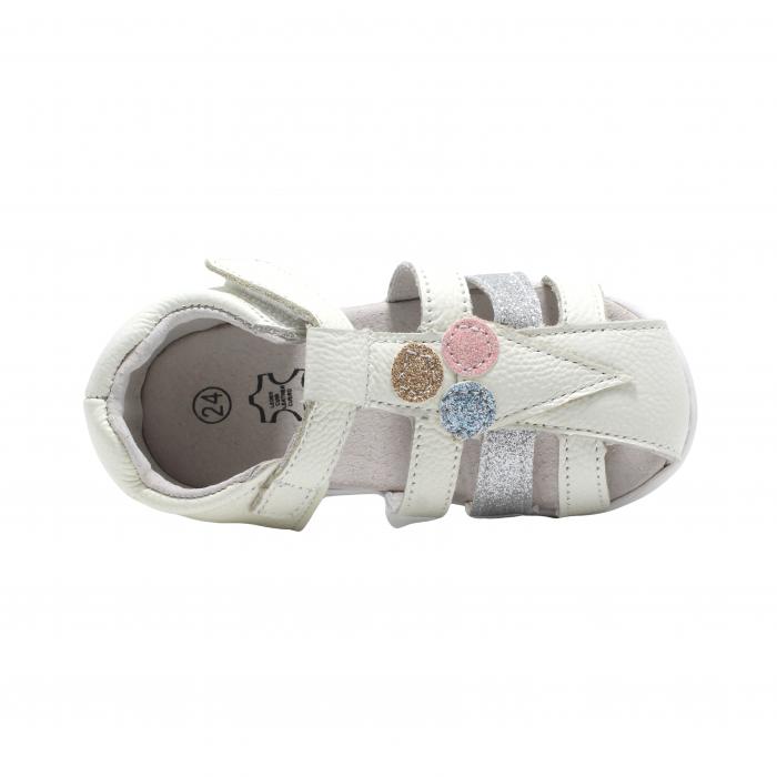 Sandale din piele Happy Bee, model 142864 albe, 19-24 EU 3