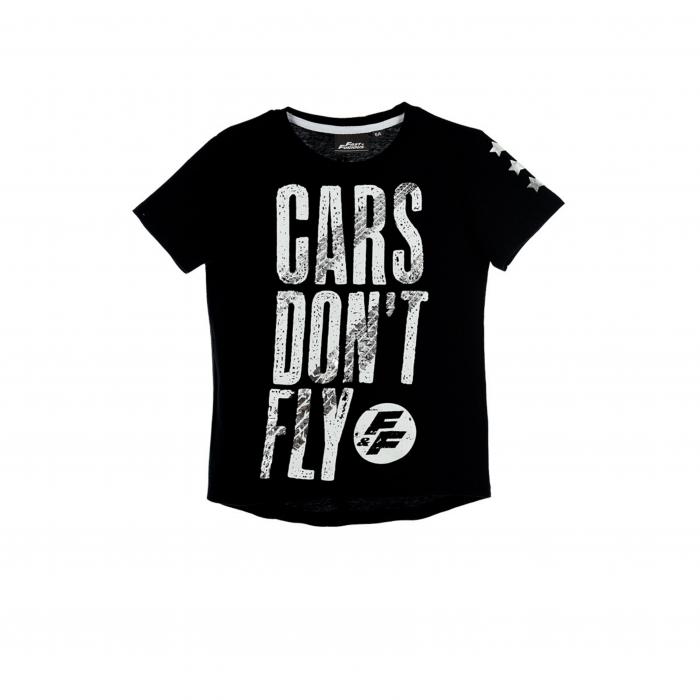 Tricou Fast & Furious, Cars don't fly E7387, negru/alb/gri, 6-12 ani [0]