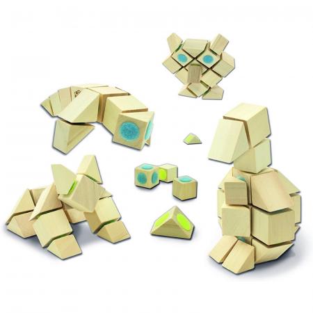 Docklets, cuburi din lemn cu velcro, set universal, 44 piese2