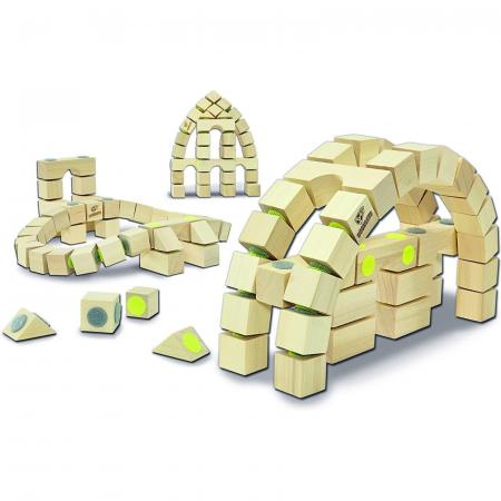 Docklets, cuburi din lemn cu velcro, set Arhitectura, 42 piese2