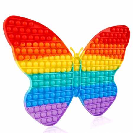 Jucarie senzoriala Pop It, Fluture curcubeu XXL, 43x28 cm [1]