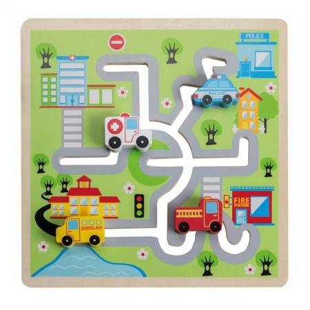 Puzzle lemn labirint auto [0]