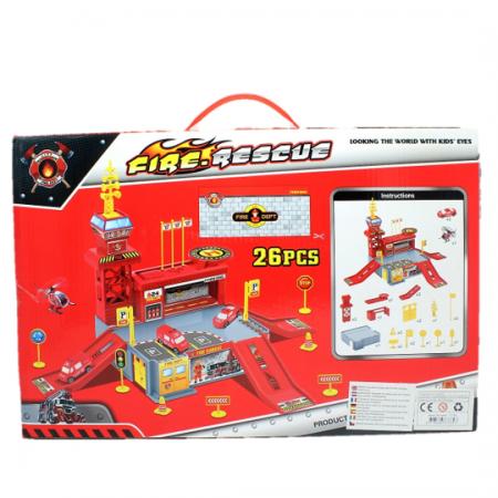 Set de joaca garaj/parcare Pompieri 26 de piese1