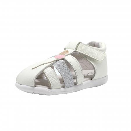 Sandale din piele Happy Bee, model 142864 albe, 19-24 EU0