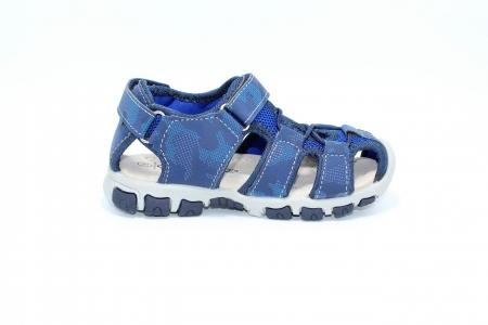 Sandale baieti HappyBee, piele si material textil, Army Camuflaj Navy, marimi 25-30 EU1