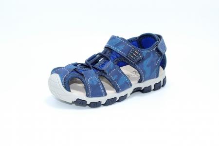 Sandale baieti HappyBee, piele si material textil, Army Camuflaj Navy, marimi 25-30 EU2