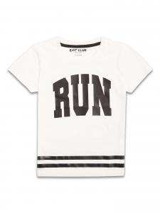 Tricou alb RiotClub cu imprimeu RUN 8-14 ani baieti0