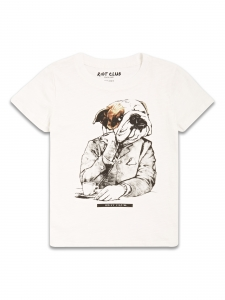 Tricou Bulldog alb baieti 8-14 ani0