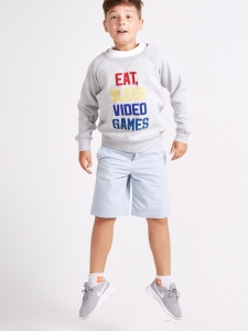 Bluzon baieti 8-14 ani gri cu imprimeu text2