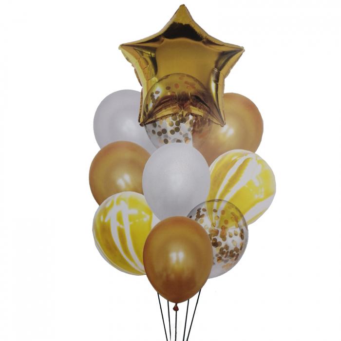 Buchet 10 baloane din latex cu confetti Gold Star [0]