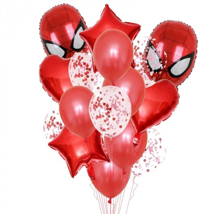 Buchet 13 baloane Spiderman din latex cu confetti Star Magic Party [0]