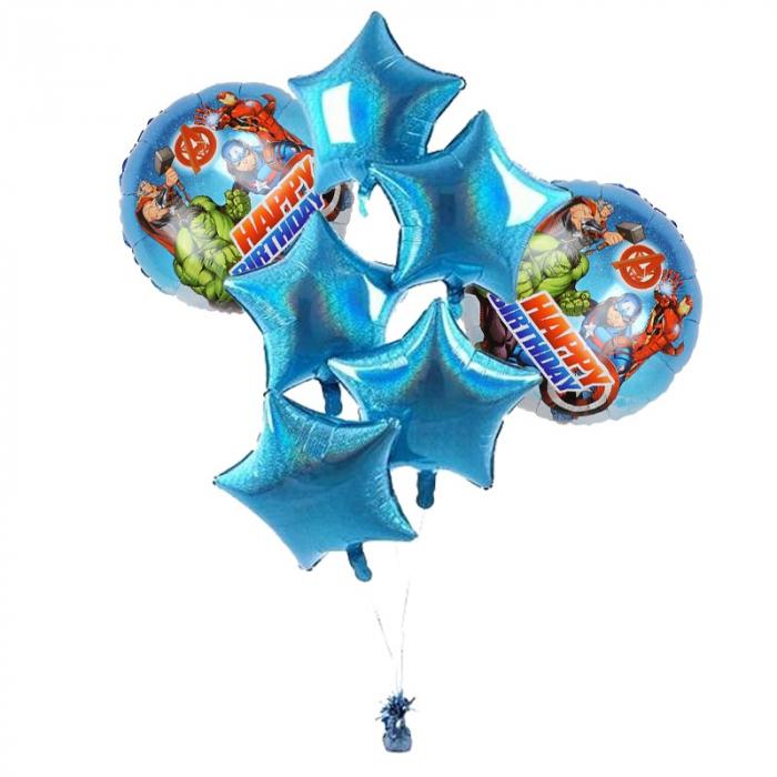 Buchet 7  baloane folie supereroi Avengers -Happy Birthday [0]