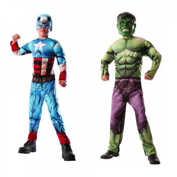 Costum reversibil Hulk si Captain America cu muschi pentru baieti [0]