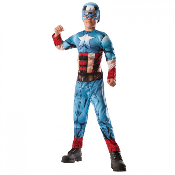 Costum reversibil Hulk si Captain America cu muschi pentru baieti [3]