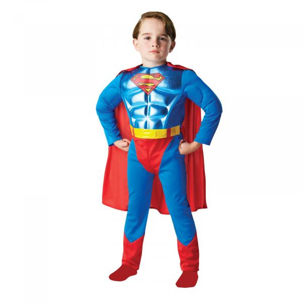 Costum Superman cu muschi si efect metalic Deluxe DC pentru copii, Rubie's , L, 7 - 8 ani 0