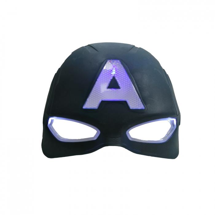 Masca Captain America cu lumini, pentru copii, 20 cm, albastra [0]