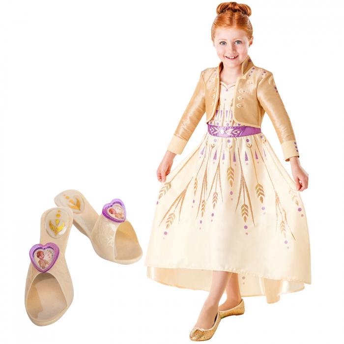 Set costum Disney Printesa Anna, Frozen 2 si pantofi fete Printesa Anna, marime S, 3 - 4 ani [0]
