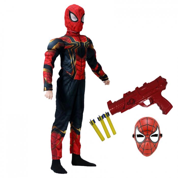 Set costum Iron Spiderman cu muschi si pistol pentru baieti [0]