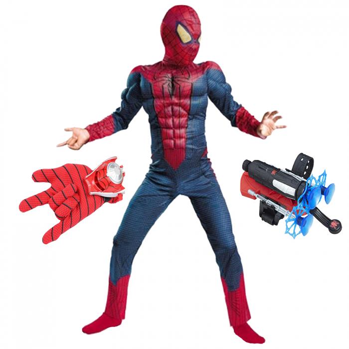 Set costum Spiderman cu muschi si doua lansatoare pentru baieti [0]