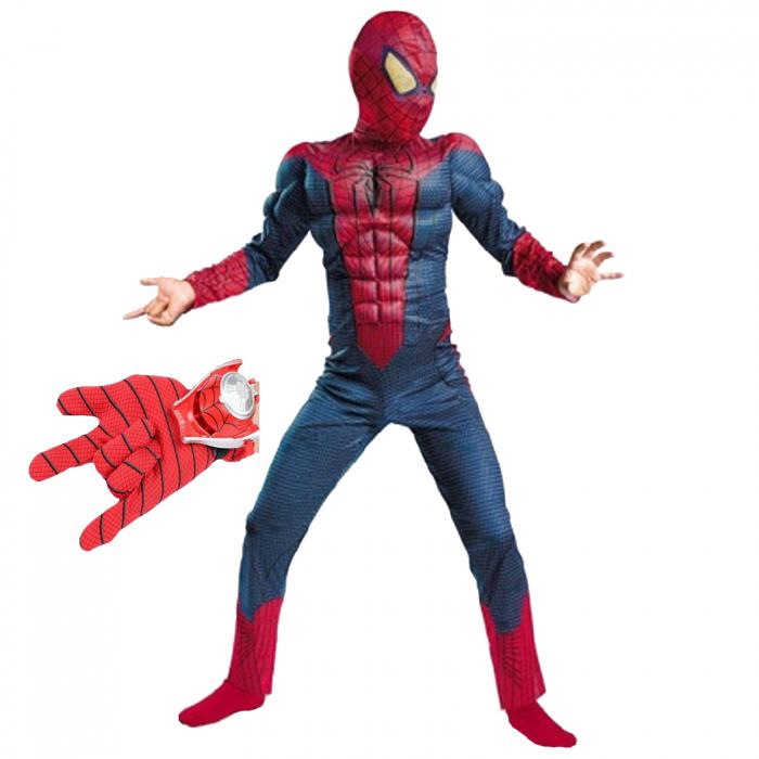Set costum Spiderman cu muschi si lansator discuri pentru baieti [0]