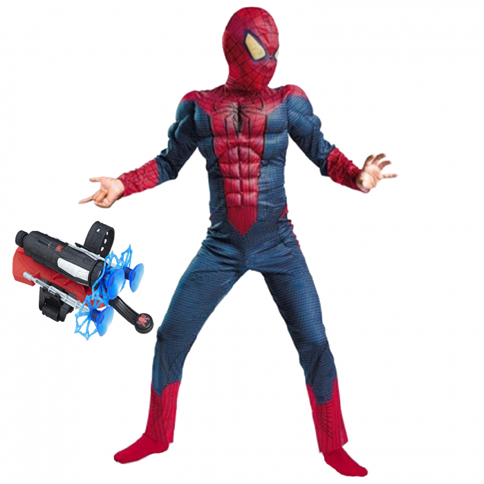 Set costum Spiderman cu muschi si lansator ventuze pentru baieti [0]