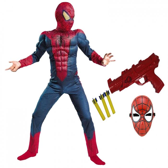 Set costum Spiderman cu muschi si pistol pentru baieti [0]