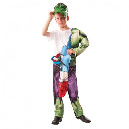Costum reversibil Hulk si Captain America cu muschi pentru baieti [1]