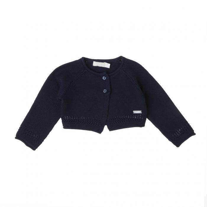 Bolero fetite tricotat Babybol, bumbac 100%, navy 0