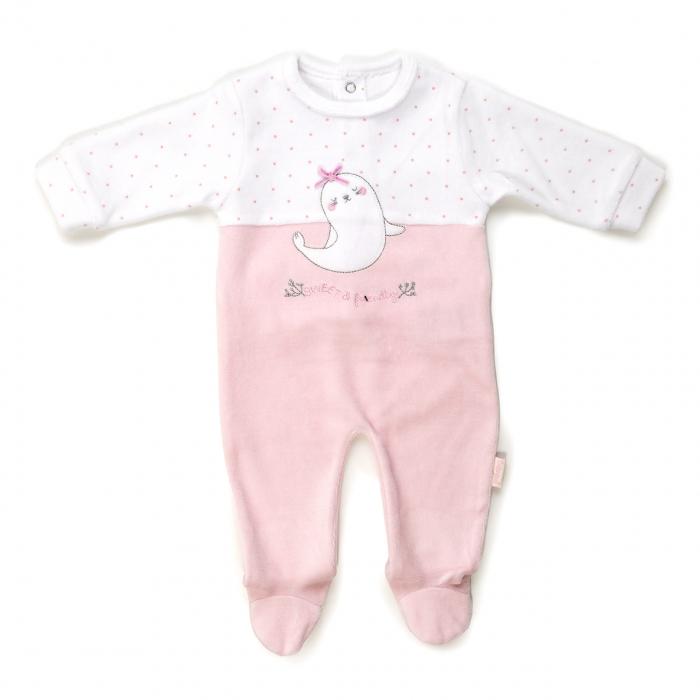 Salopeta bebe fetita catifea, roz, Babybol 0