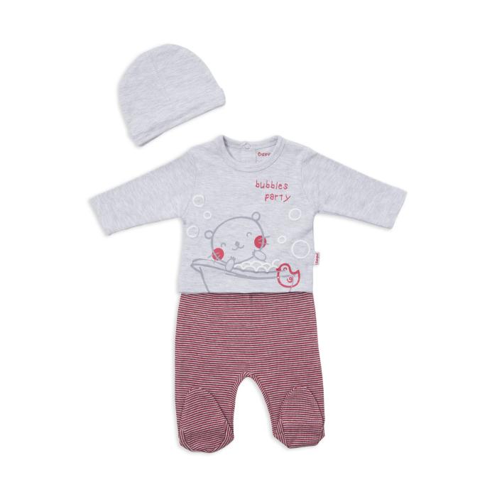 Set bebe baiat, bluza ,pantalon cu botosi si caciula, gri, Babybol [0]