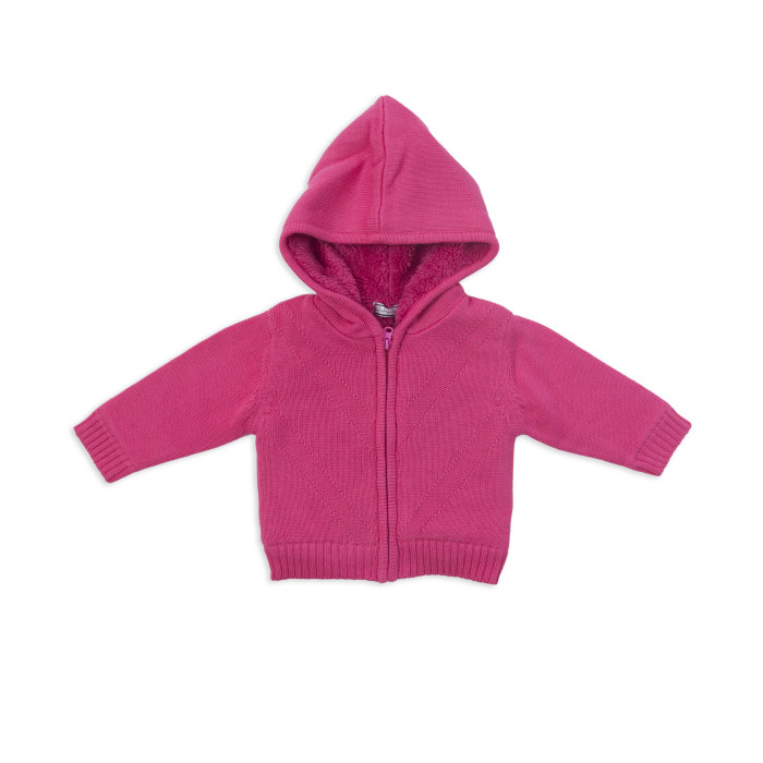 Jacheta tricotata bebe fetita, fucsia, Babybol 0