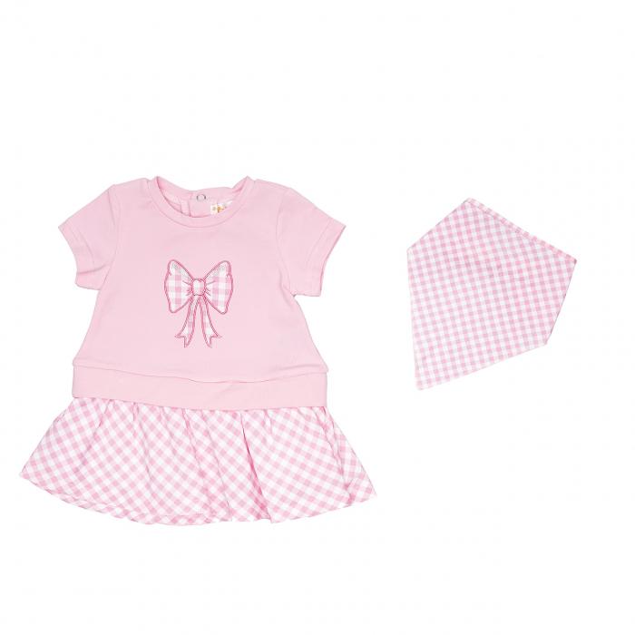 Babybol Rochie maneca scurta cu batic, roz [0]