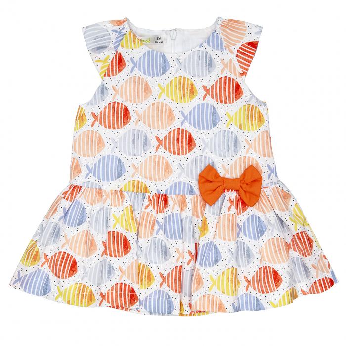 Babybol, Rochie maneca scurta, imprimeu pesti, orange 0